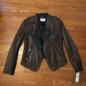NWT - Brown Leather Jacket Size M